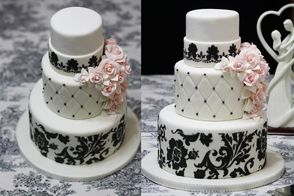 White Wedding Cake - Pink - Black